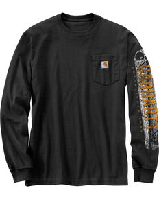 Carhartt Workwear Men's Saw Graphic Long Sleeve Work T-Shirt - Tall , Black, hi-res
