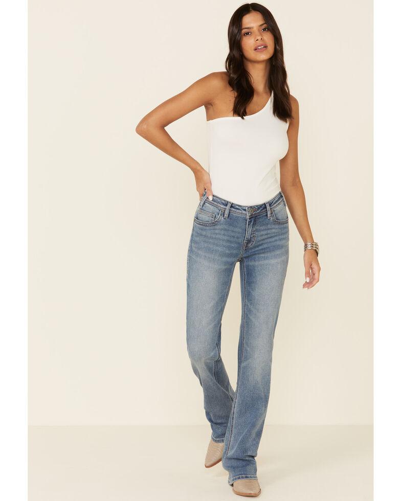 Rock & Roll Denim Women's Seam Detail Bootcut Jeans, Blue, hi-res