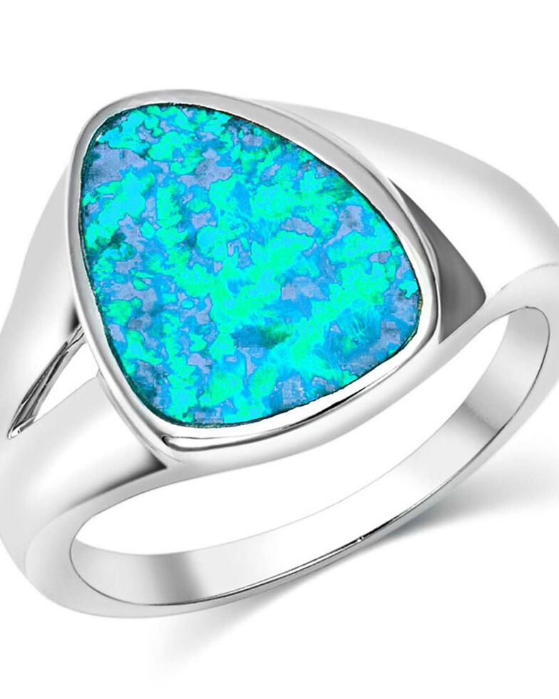 Montana Silversmiths Women's River Of Lights Abstract Teardrop Ring - Size 8, Silver, hi-res