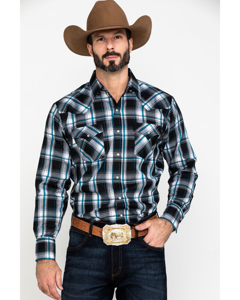 Ely Cattleman Men's Textured Multi Plaid Long Sleeve Western Shirt , Multi, hi-res