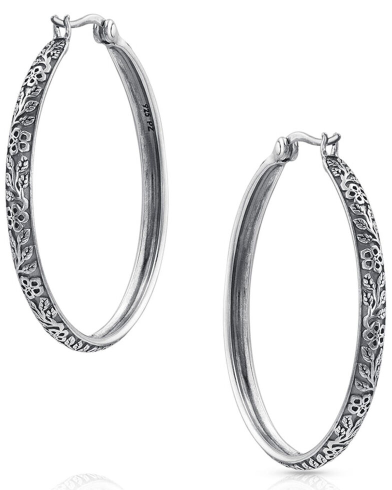 Montana Silversmiths Women's Field Of Wildflowers Hoop Earrings, Silver, hi-res