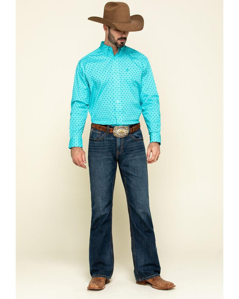 Ariat Men's Sebasopol Aztec Geo Print Short Sleeve Western Shirt , Turquoise, hi-res