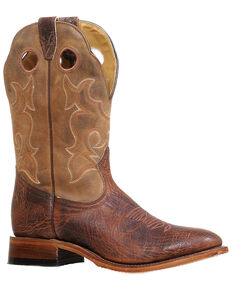 Boulet Men's Round Toe Western Boots, Brown, hi-res