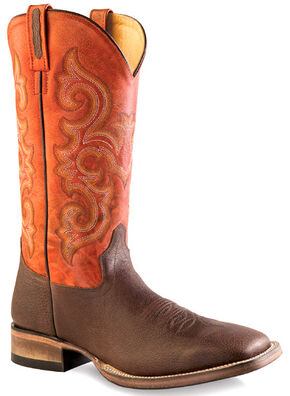 Old West Men's Orange and Brown Western Boots - Square Toe , Brown, hi-res