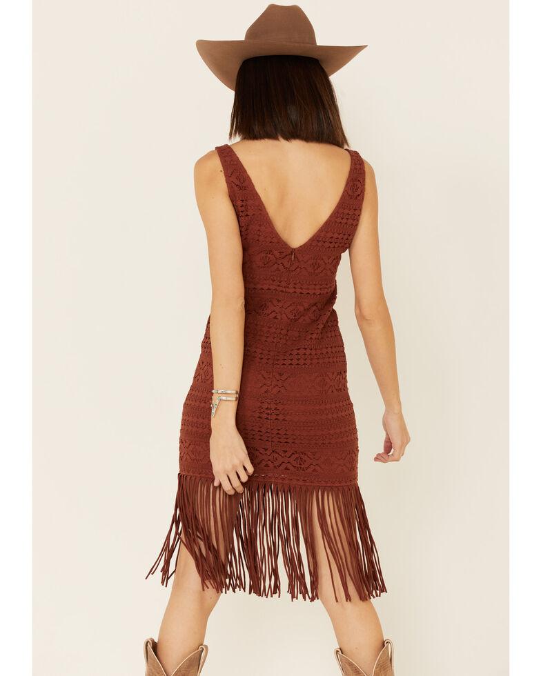 Shyanne Women's Crochet Fringe Dress, Rust Copper, hi-res