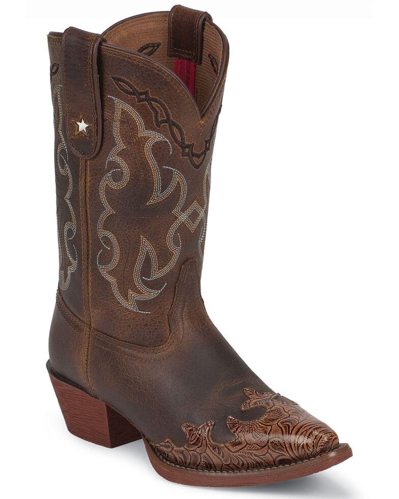 Tony Lama Youth Girls' Tiny Lama Vaquero Savannah Cowboy Boots - Pointed Toe, Tan, hi-res