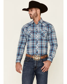 Wrangler Retro Men's Blue Plaid Long Sleeve Snap Western Shirt , Blue, hi-res