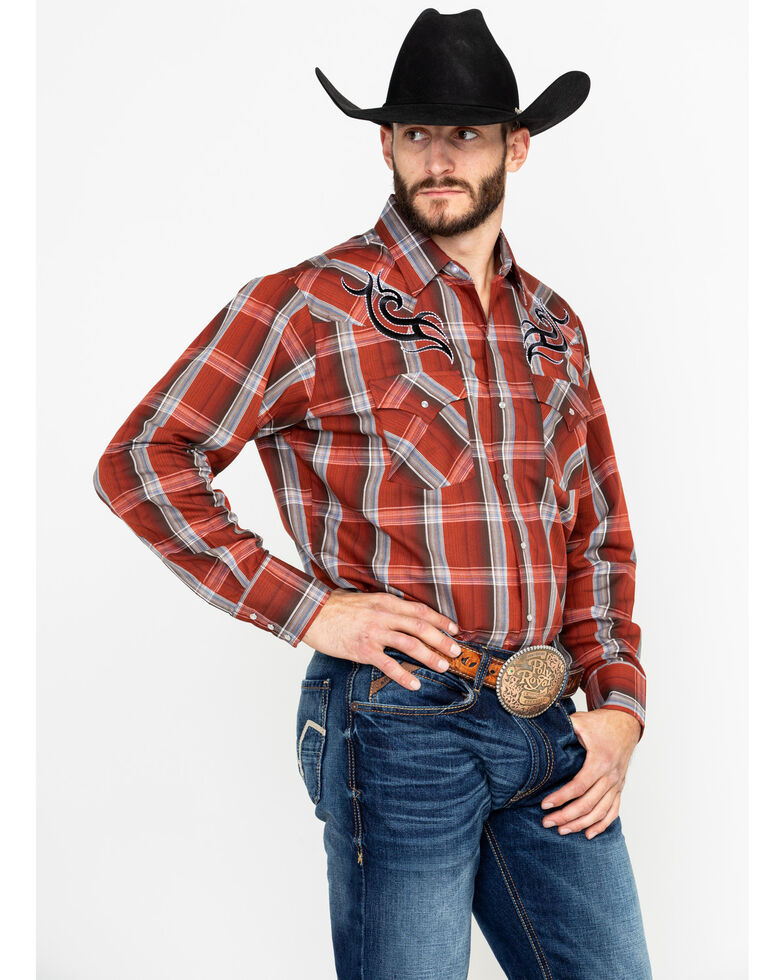 Ely Walker Men's Embroidered Plaid Long Sleeve Western Shirt  , Rust Copper, hi-res