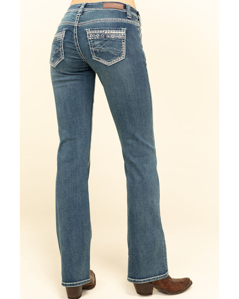 Rock & Roll Cowgirl Women's Medium Riding Bootcut Jeans, Blue, hi-res