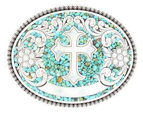 Nocona Faux Turquoise Stones & Cross Belt Buckle, Silver, hi-res