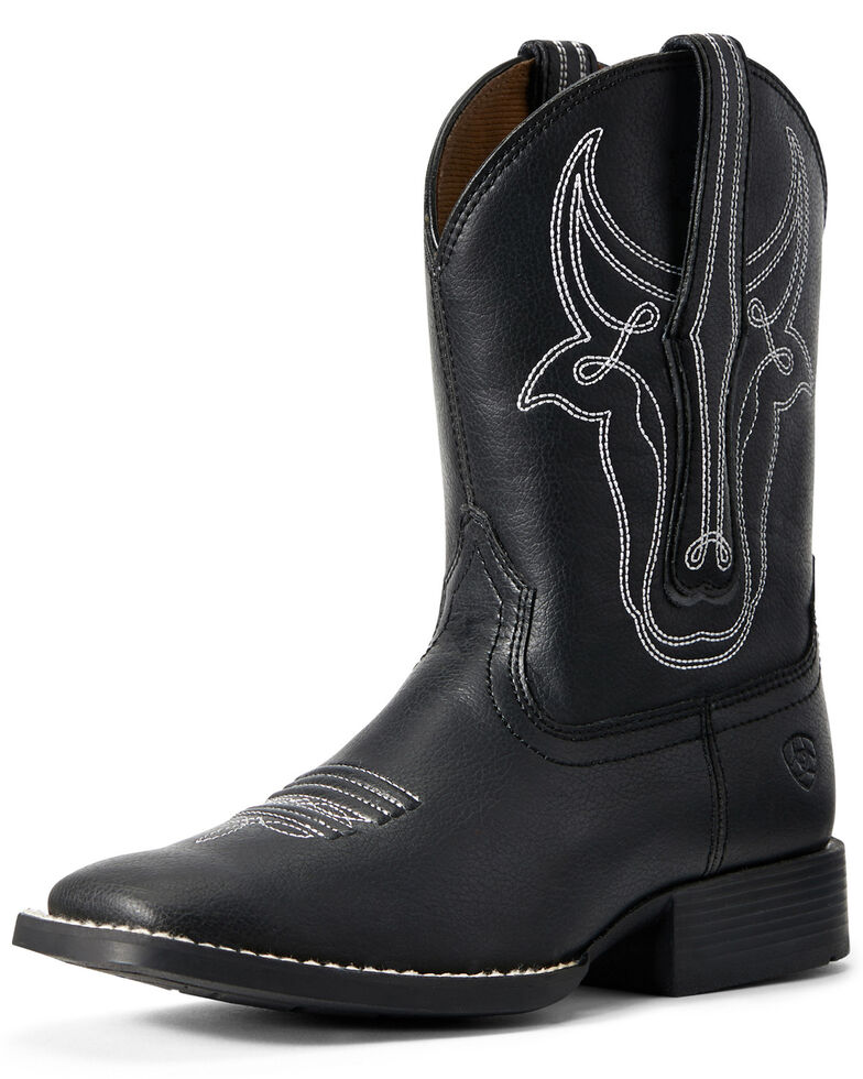 Ariat Youth Boys' Bully Bustin' Western Boots - Square Toe, Black, hi-res