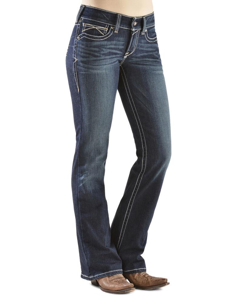 Ariat Women's R.E.A.L. Whipstitch Bootcut Jeans, Denim, hi-res