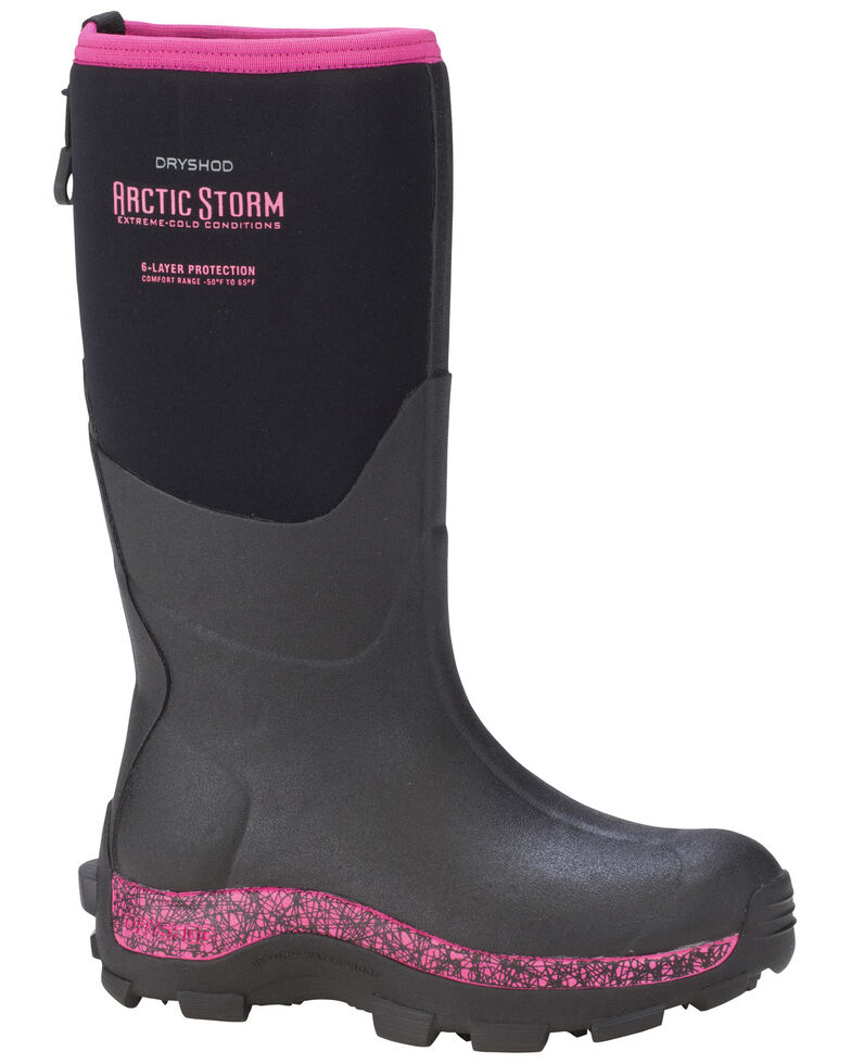 Dryshod Women's Pink Arctic Storm Winter Work Boots, Black, hi-res