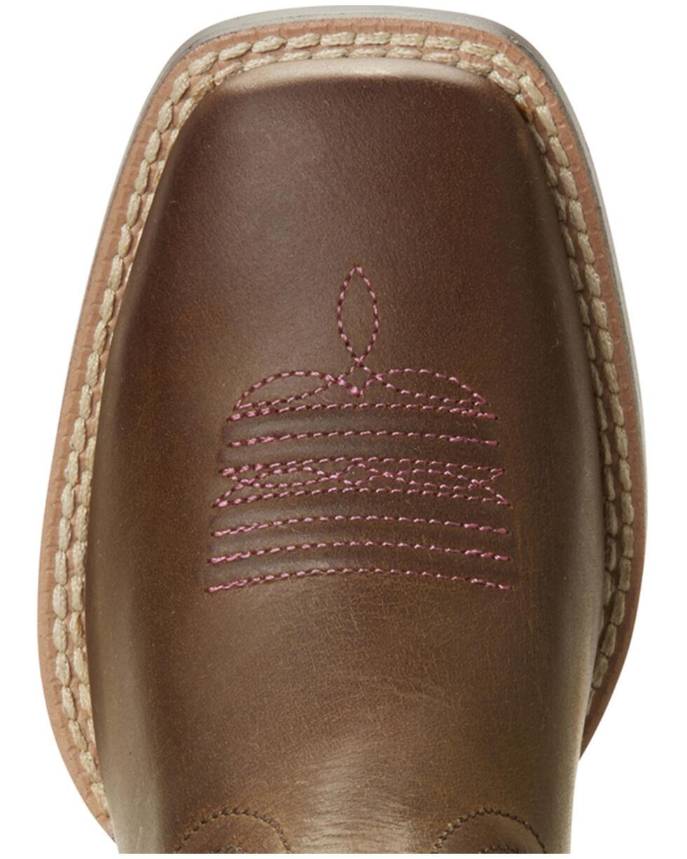 Ariat Girls' VentTEK Quickdraw Serape Western Boots - Wide Square Toe, Brown, hi-res