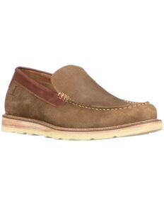Lucchese Men's Olive Suede After-Ride Slip-On Casual Moccasin - Moc Toe , Olive, hi-res