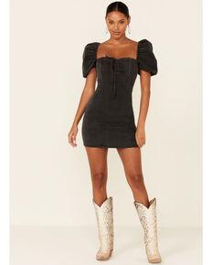 Flying Tomato Women's Denim Puff Sleeve Dress, Black, hi-res