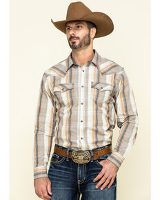 Cody James Men's Coal Miner Large Plaid Long Sleeve Western Shirt - Tall, Beige/khaki, hi-res