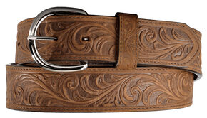 Silver Creek Western Hand Tooled Leather Belt, Brown, hi-res