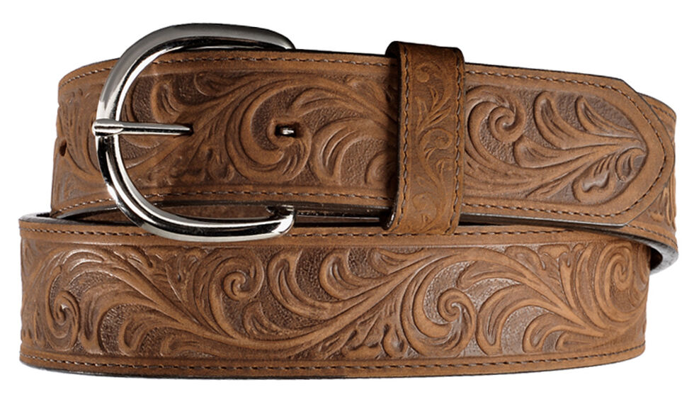 Silver Creek Western Hand Tooled Leather Belt, Brown, hi-res