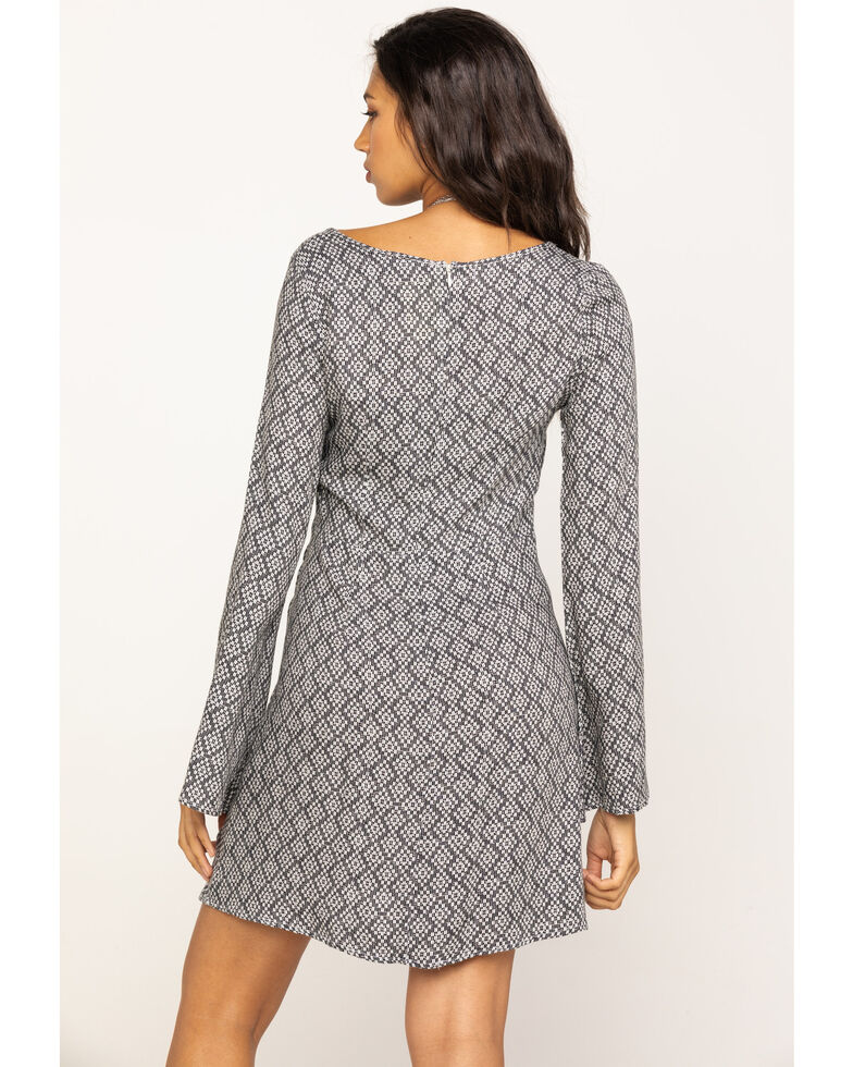 Stetson Women's Geometric Aztec Bell Sleeve Dress, Black, hi-res