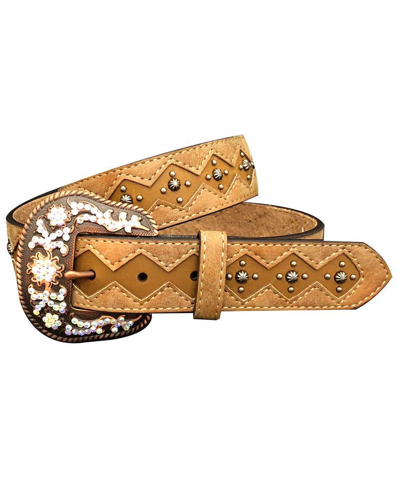 Roper Women's Diamond Inlay Stud & Rhinestone Leather Belt, , hi-res