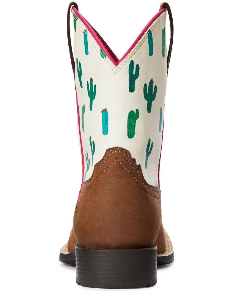 Ariat Girls' Dinero Cactus Print Western Boots - Square Toe, Brown, hi-res