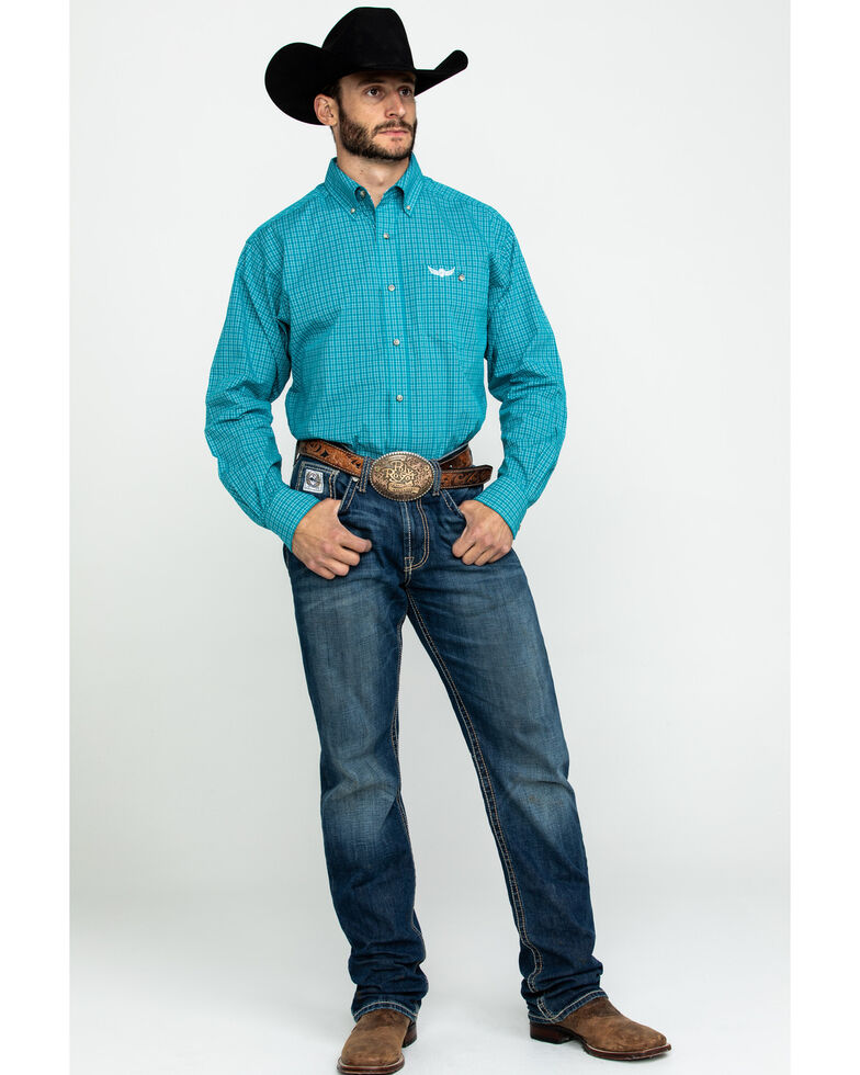 Ariat Men's Activate Small Plaid Long Sleeve Western Shirt , Turquoise, hi-res