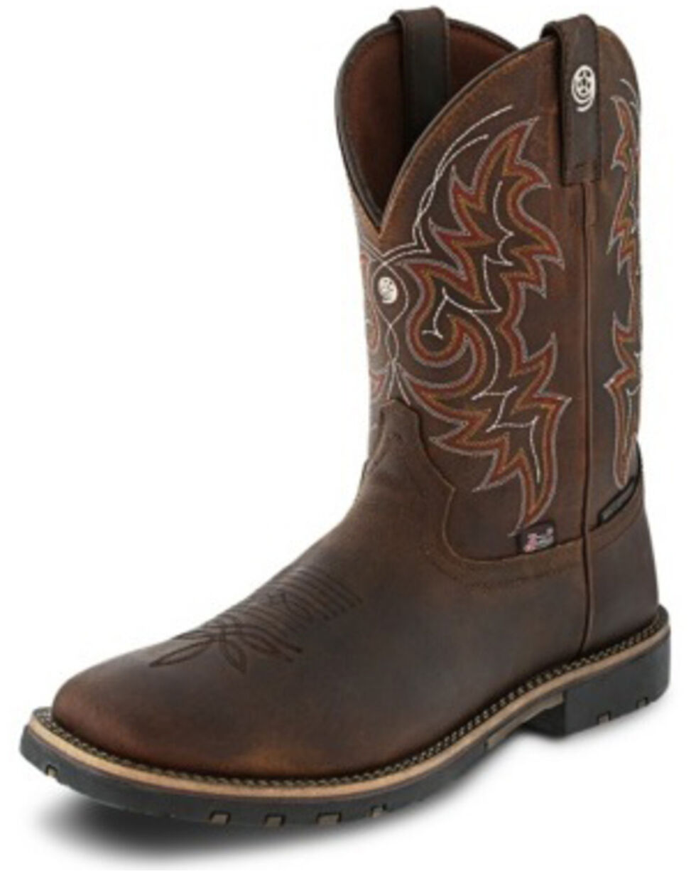 Justin Men's Fireman Coffee Western Boots - Square Toe, Brown, hi-res