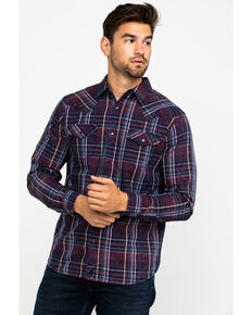 Moonshine Spirit Men's Thunder Storm Crackle Plaid Long Sleeve Western Shirt , Navy, hi-res