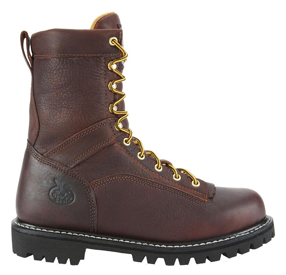 Georgia Low Heel Logger Boots - Round Toe, Copper, hi-res
