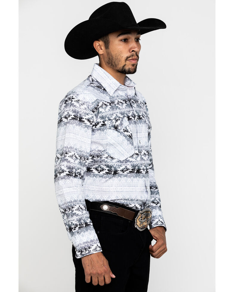 Rough Stock By Panhandle Men's Castle Gate Aztec Print Long Sleeve Western Shirt , White, hi-res