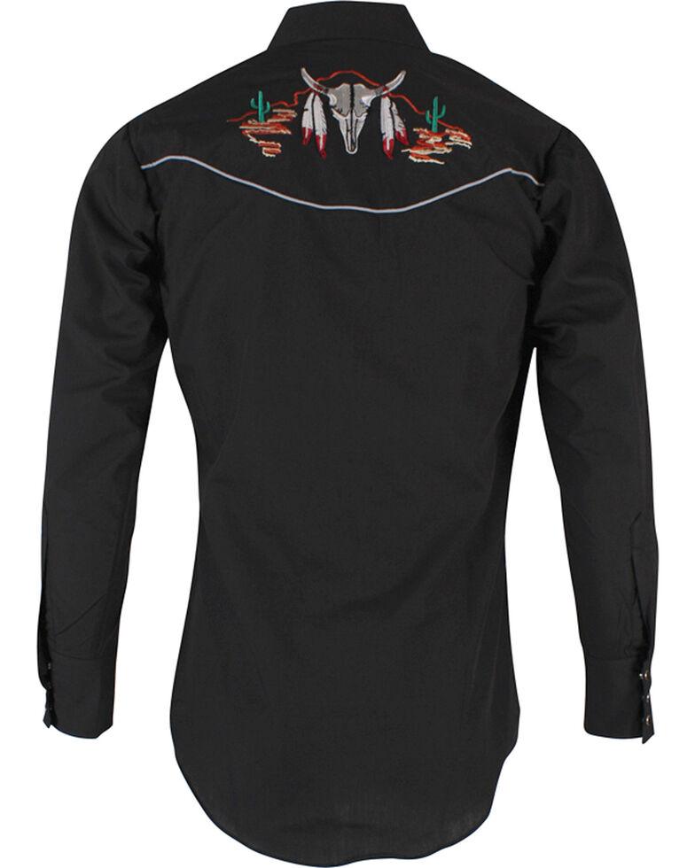 Ely Walker Men's Black Bull Skull Embroidered Long Sleeve Western Shirt , Black, hi-res