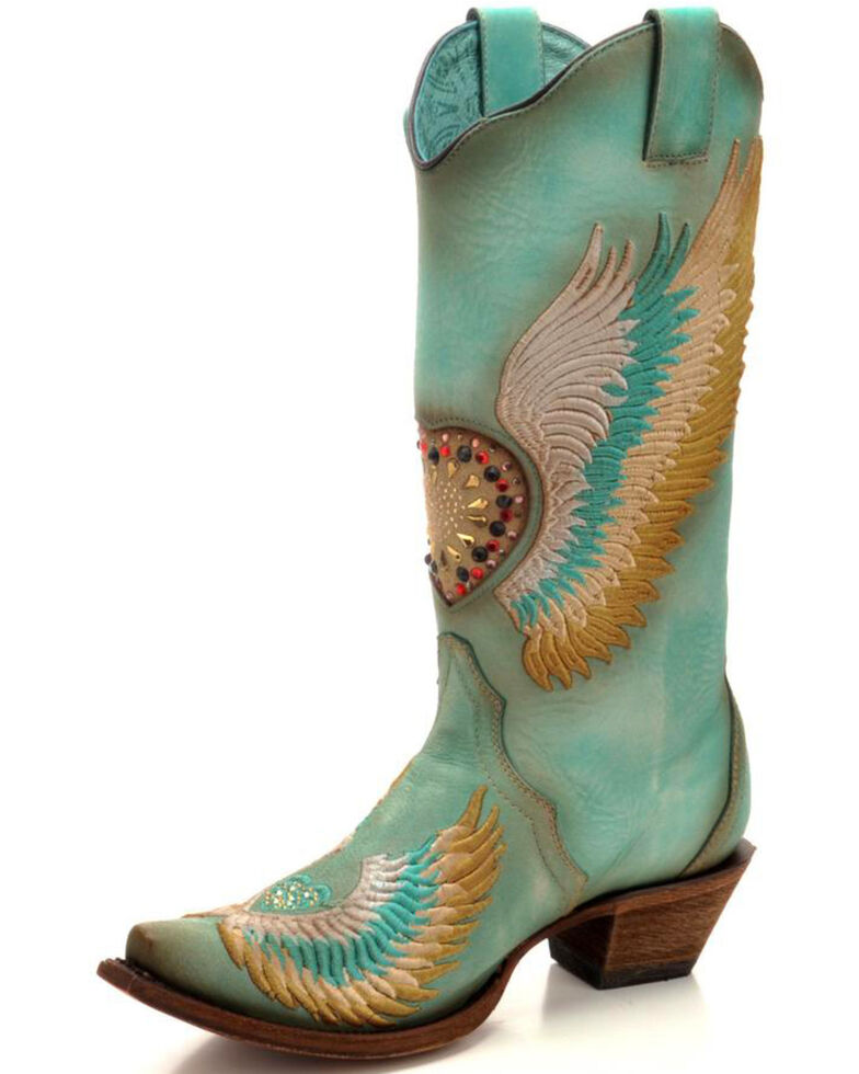 Corral Women's Turquoise Crystal Heart and Wings Embroidered Cowgirl Boots - Snip Toe, Turquoise, hi-res