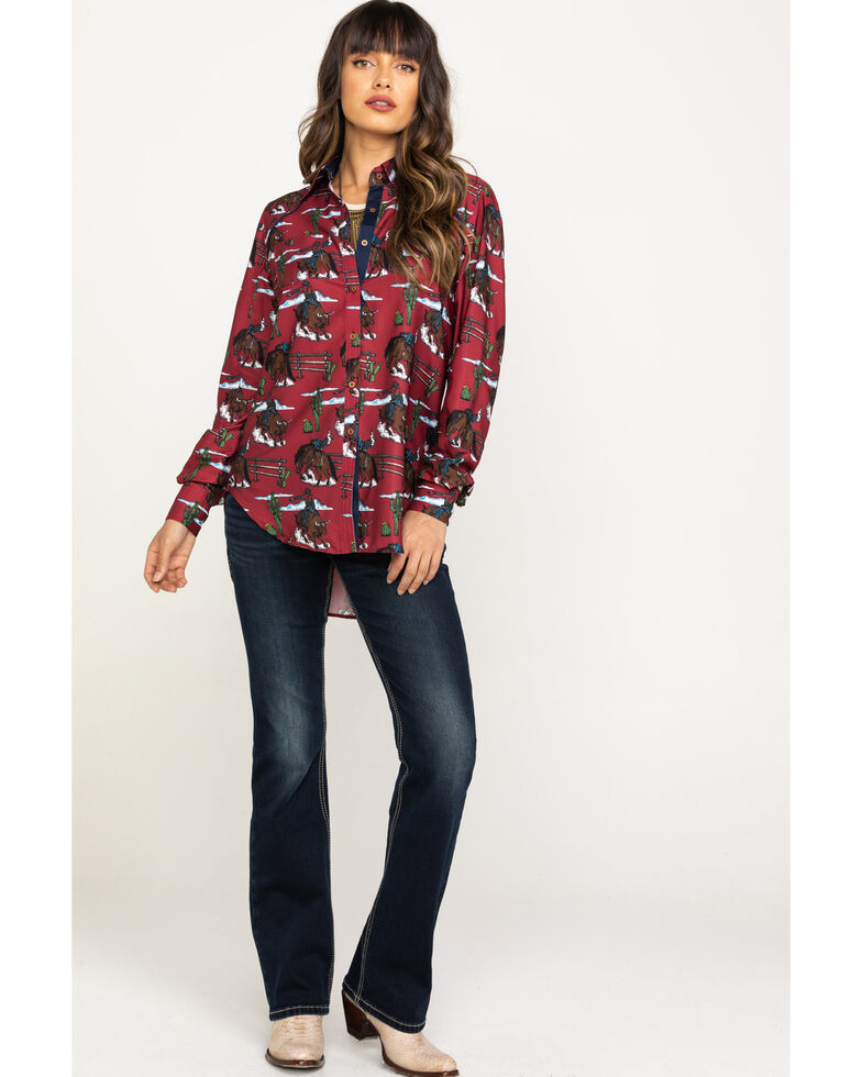 Rock & Roll Cowgirl Women's Retro Print Long Sleeve Western Shirt, Red, hi-res