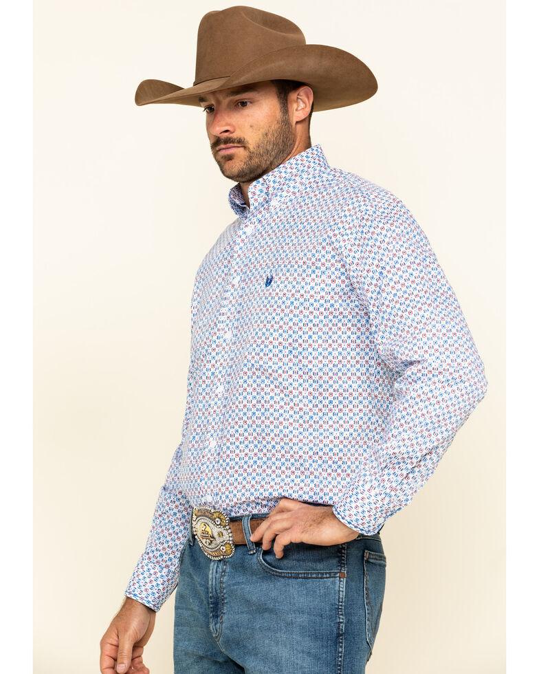Rough Stock By Panhandle Men's Tamworth Geo Print Long Sleeve Western Shirt , White, hi-res
