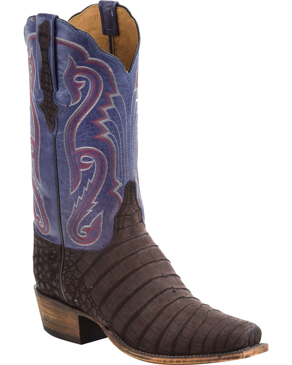 Lucchese Men's Handmade Owen Dark Brown/Navy Sueded Caiman Belly Western Boots - Square Toe, Dark Brown, hi-res