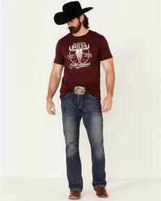 Cody James Men's Ridin Bulls Graphic Short Sleeve T-Shirt , Burgundy, hi-res
