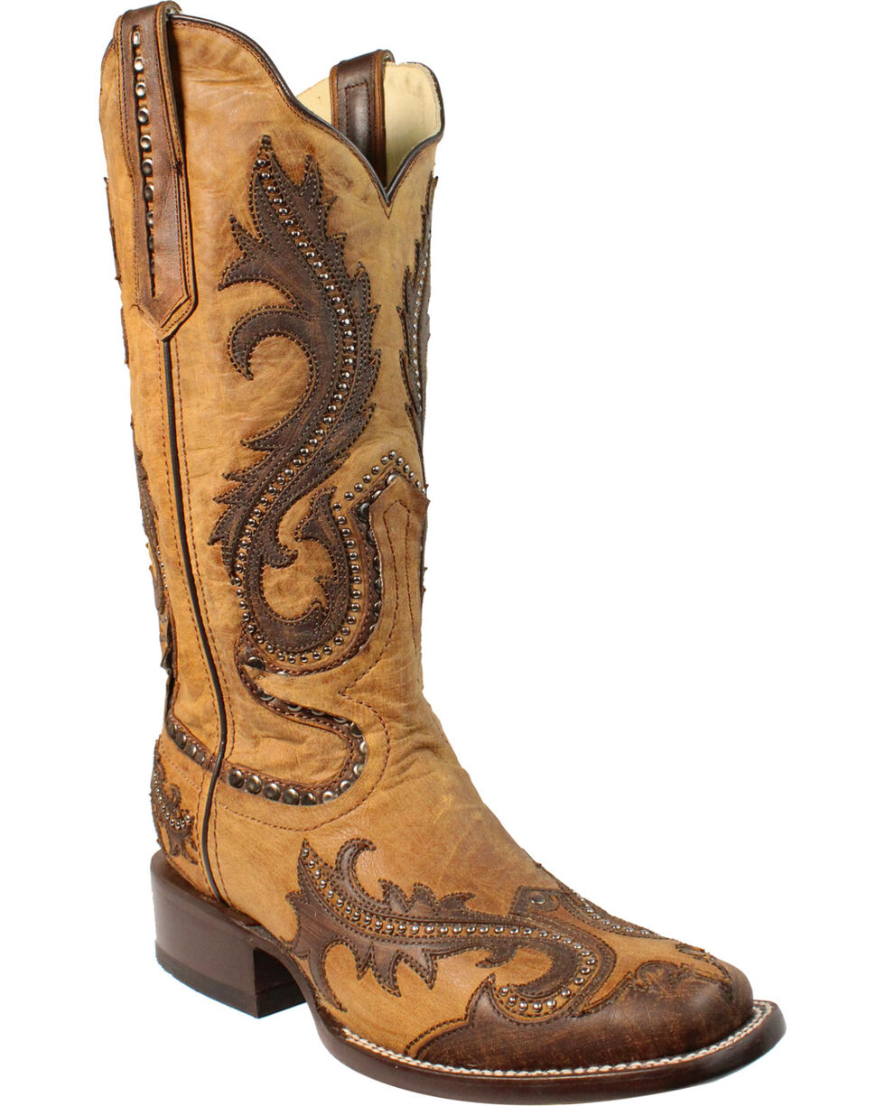 Corral Women's Tan Overlay and Studs Cowgirl Boots - Square Toe, Tan, hi-res