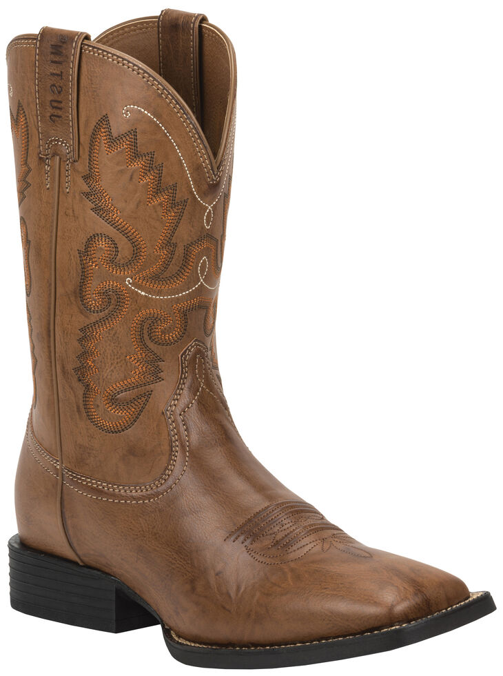 Justin Burnished Brown Farm & Ranch Cowboy Boots - Square Toe , Wood, hi-res