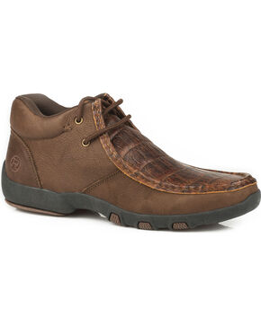 Roper Men's Brody Embossed Gator Driving Moc Chukka Shoes - Moc Toe, Brown, hi-res