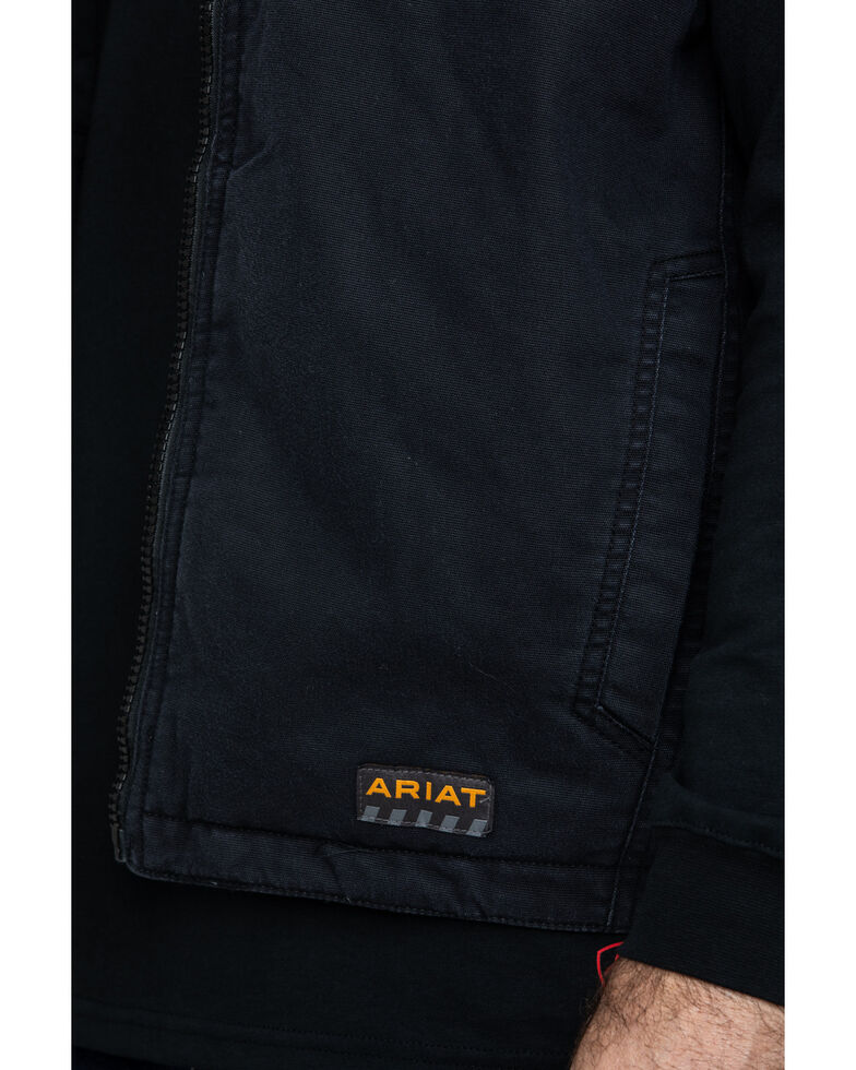Ariat Men's Rebar Washed Dura Canvas Insulated Work Vest , Black, hi-res