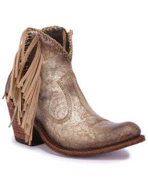 Liberty Black Women's Cabra Buffed Metal Fringe Booties - Round Toe , Grey, hi-res