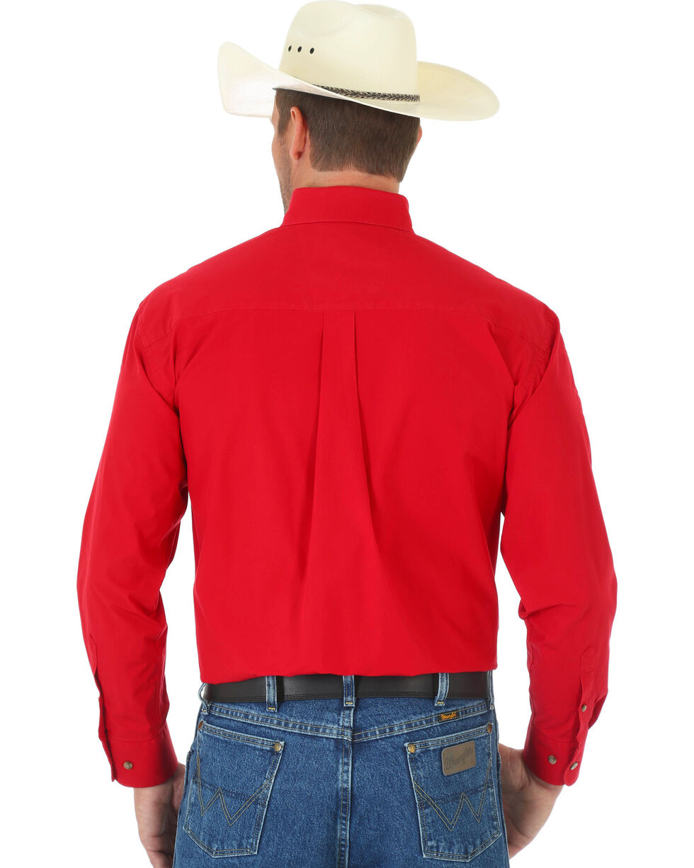 Wrangler George Strait Men's Red Long Sleeve Shirt, Red, hi-res