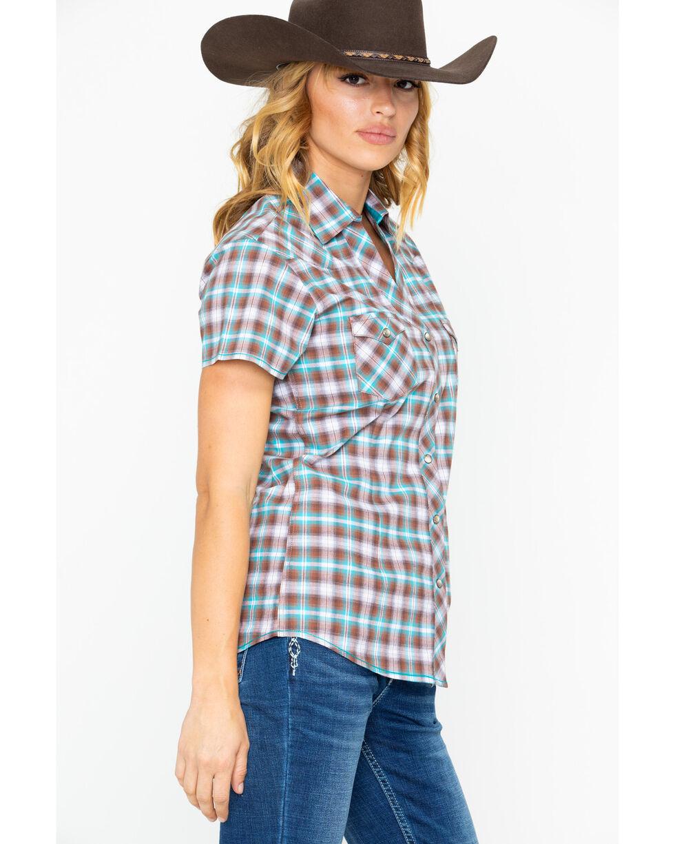 Panhandle Women's Lambie Antique Short Sleeve Western Shirt, Turquoise, hi-res