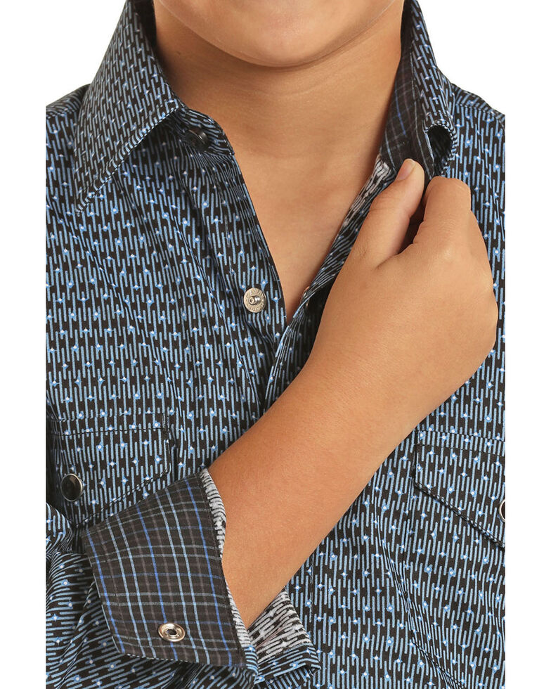 Panhandle Select Boys' Blue Abstract Poplin Print Long Sleeve Western Shirt , Blue, hi-res