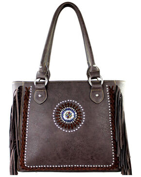 Montana West Black Fringe Collection Braided Lacing Satchel, Coffee, hi-res