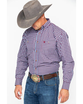 George Strait by Wrangler Men's Wine Plaid Long Sleeve Western Shirt - Big & Tall, Wine, hi-res