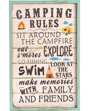 BB Ranch Camping Rules Wooden Wall Sign, Multi, hi-res