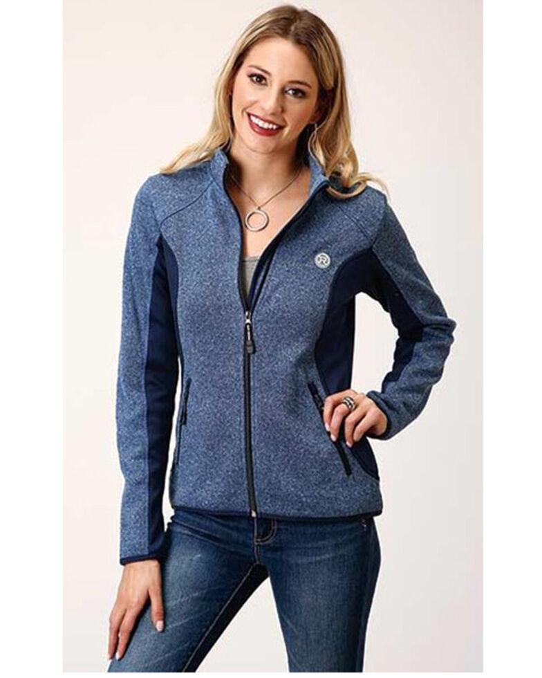 Roper Women's Blue Bonded Fleece Zip Jacket, Blue, hi-res