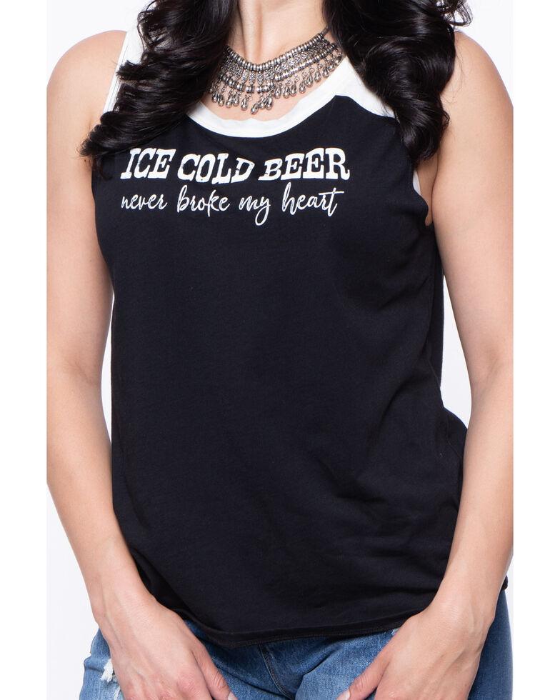 Cut & Paste Women's Black & White Ice Cold Beer Never Broke My Heart Tank, Black/white, hi-res